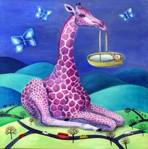 Giraf på afveje     60 x 60 cm       3.000 kr