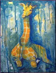 Siddende giraf m.m.      30 x 40 cm        950 kr