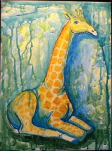 Giraf i jungle     30 x 40 cm      950 kr