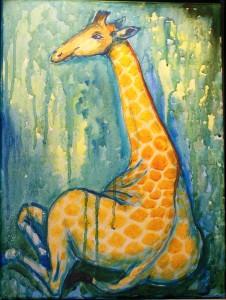 Siddende giraf         30 x 40 cm      SOLGT
